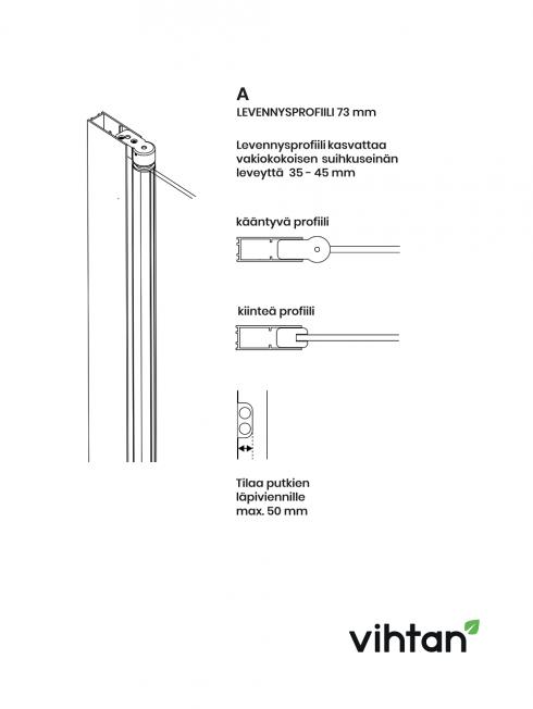 Levennysprofiili (73 mm)