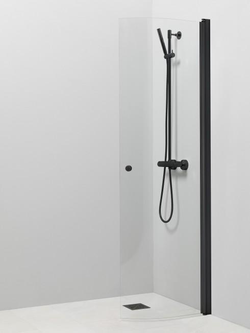 PISARA 4 suihkuseinä | kirkas lasi ja musta alumiini