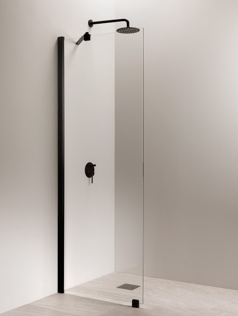 PURO 6 suihkuseinä | vino seinätuki | musta
