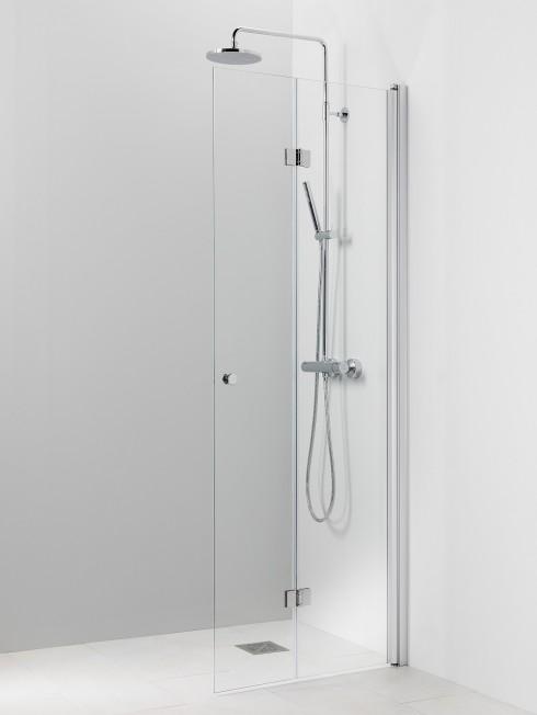 PISARA 5 | taittuva suihkuseinä | kirkas lasi ja matta alumiini profiili