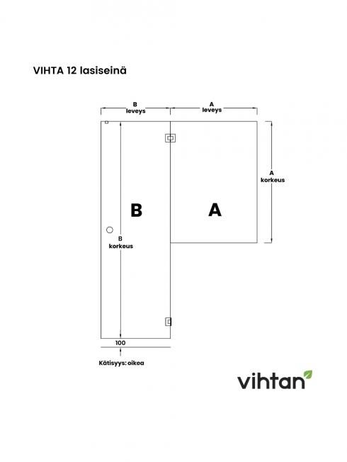 VIHTA 12 lasiseinä   kätisyys oikea