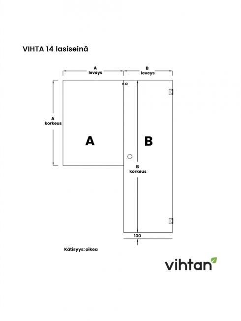 VIHTA 14 lasiseinä | kätisyys oikea