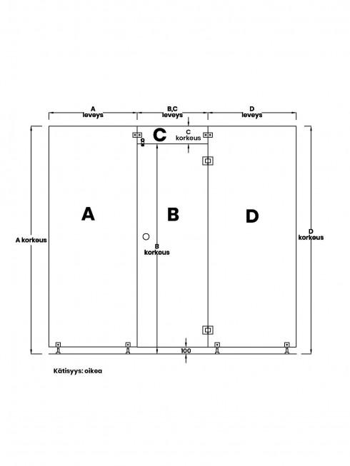 VIHTA 1 lasiseinä | kätisyys oikea