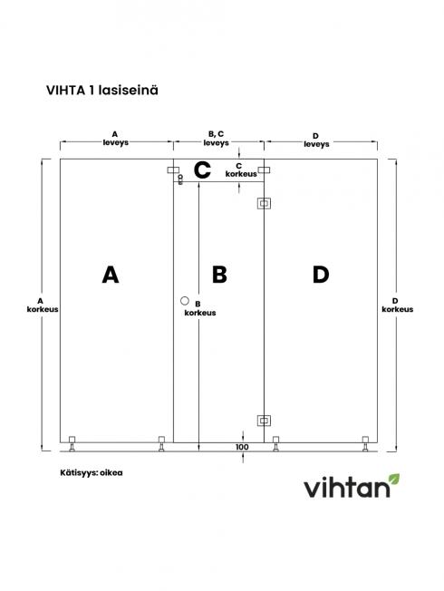 VIHTA 1 lasiseinä   kätisyys oikea