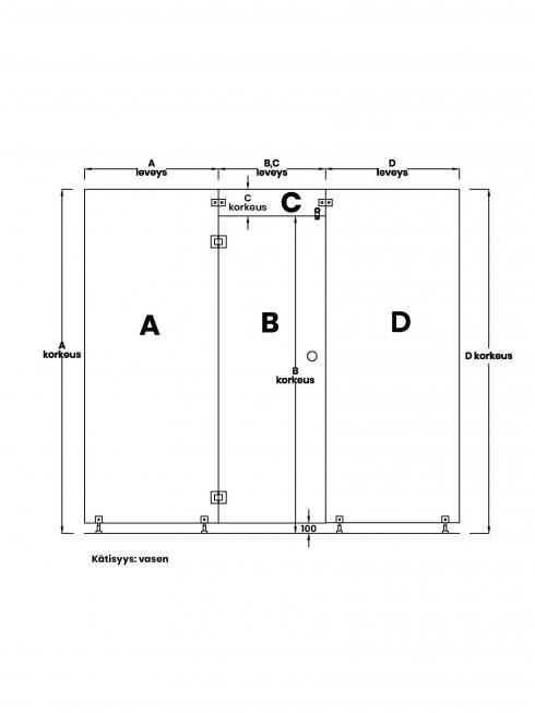 VIHTA 1 lasiseinä | kätisyys vasen
