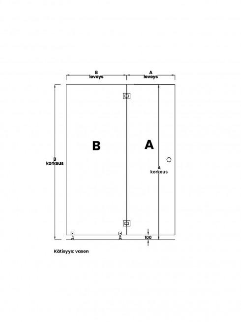 VIHTA 4 lasiseinä | kätisyys vasen