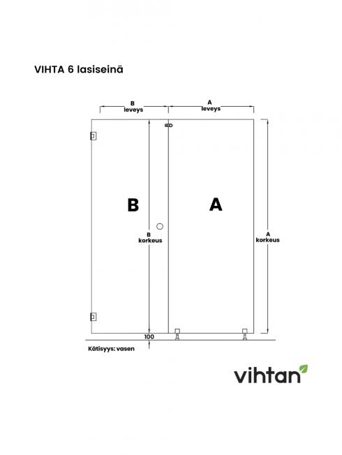 VIHTA 6 lasiseinä   kätisyys vasen