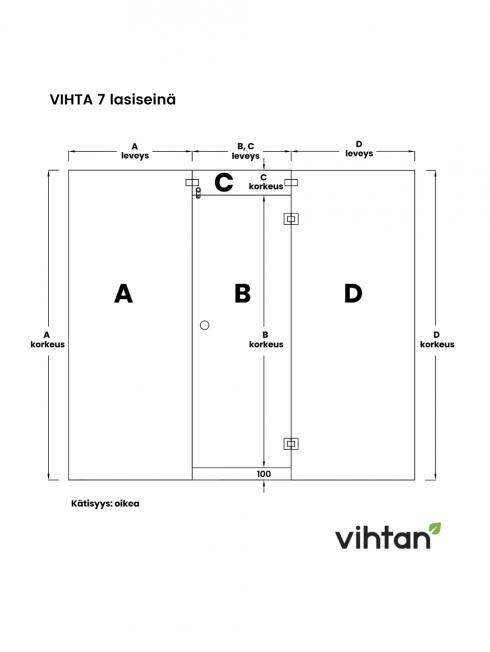 VIHTA 7 lasiseinä   kätisyys oikea