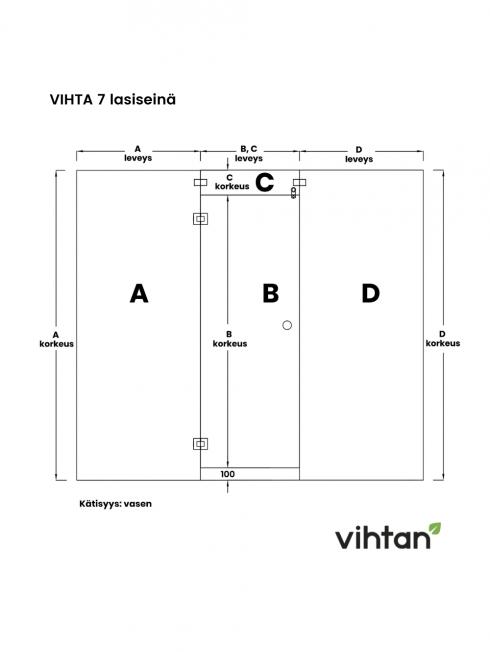 VIHTA 7 lasiseinä   kätisyys vasen