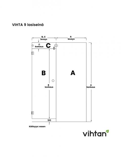 VIHTA 9 lasiseinä | kätisyys vasen