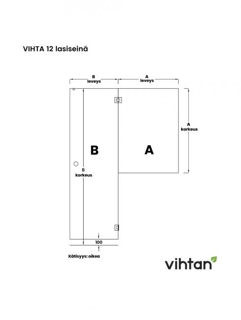 VIHTA 12 lasiseinä | kätisyys oikea