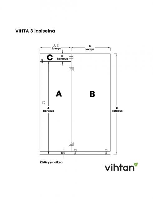 VIHTA 3 lasiseinä   kätisyys oikea