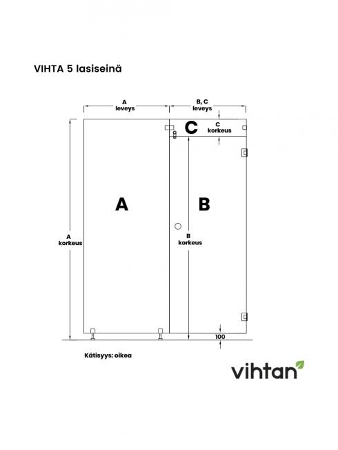 VIHTA 5 lasiseinä | kätisyys oikea