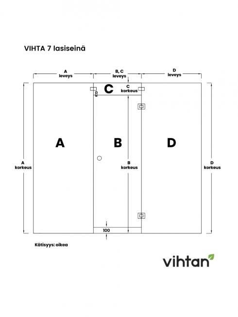 VIHTA 7 lasiseinä | kätisyys oikea