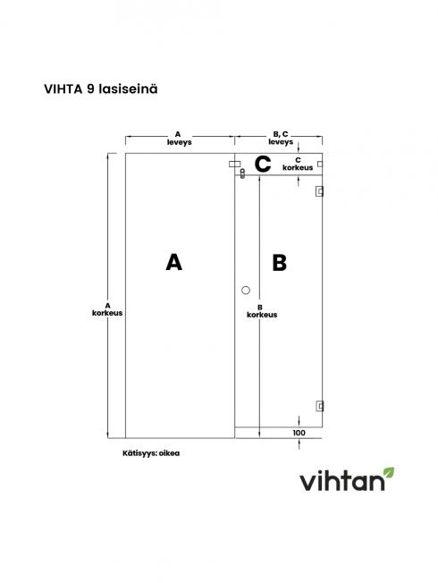 VIHTA 9 lasiseinä | kätisyys oikea