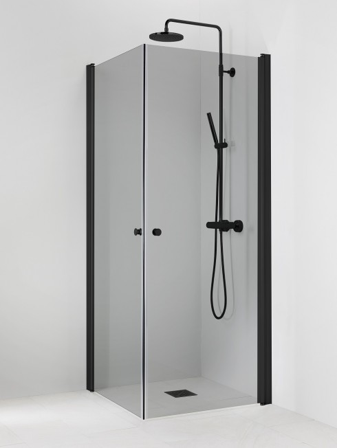 PISARA 3+3 suihkukulma | harmaa lasi ja musta profiili
