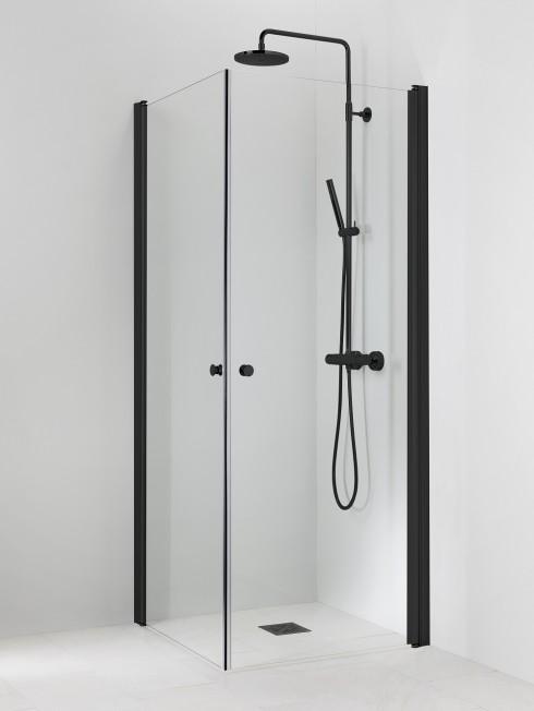 PISARA 3+3 suihkukulma | kirkas lasi ja musta profiili