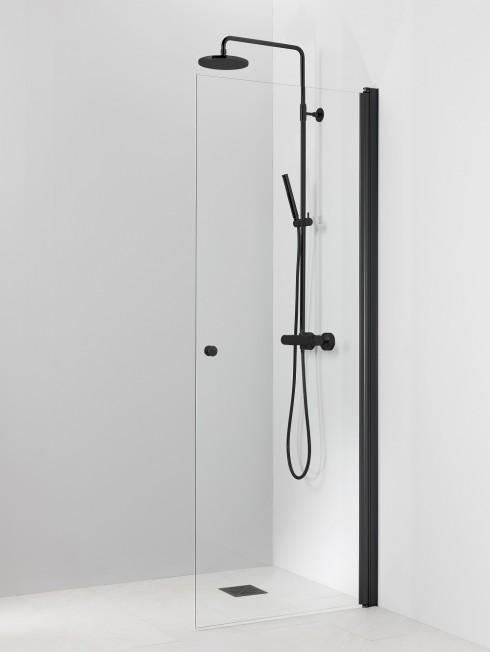 PISARA 3 suihkuseinä | kirkas lasi ja musta alumiini