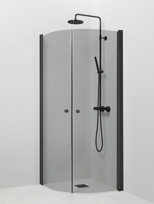 PISARA 4+4 suihkukulma | harmaa lasi ja musta profiili