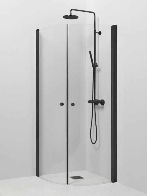 PISARA 4+4 suihkukulma | kirkas lasi ja musta profiili