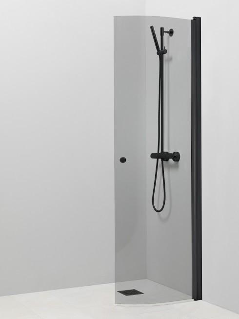 PISARA 4 suihkuseinä | harmaa lasi ja musta alumiini