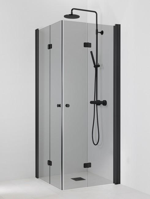 PISARA 5+5 suihkukulma | harmaa lasi ja musta profiili