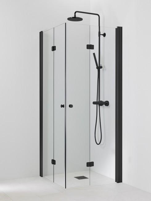 PISARA 5+5 suihkukulma | kirkas lasi ja musta profiili