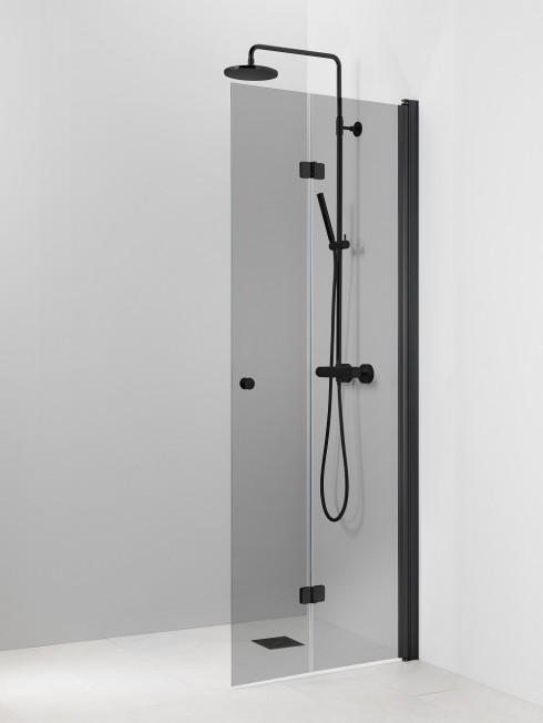 PISARA 5 suihkuseinä | harmaa lasi ja musta profiili