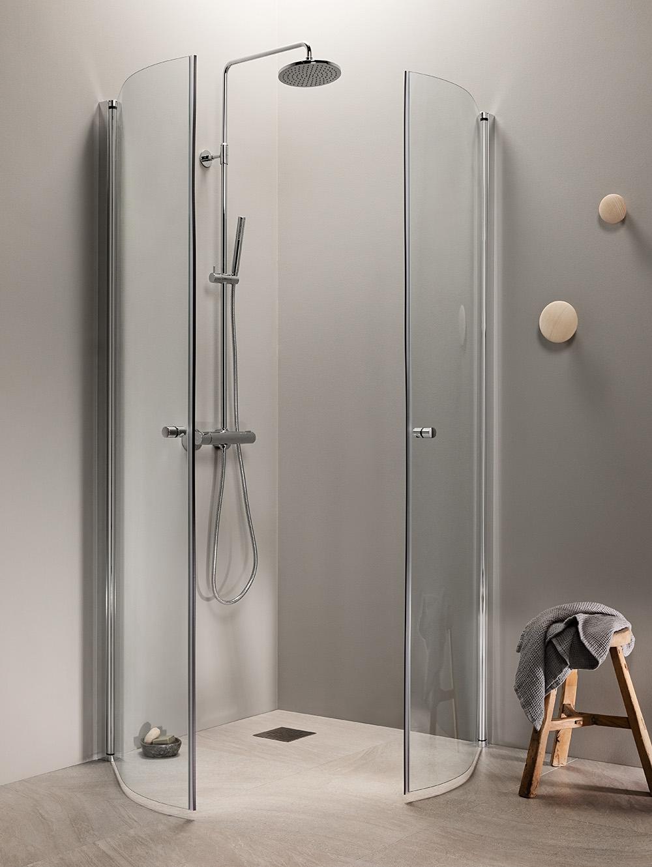 Kaareva suihkukulma PURO suihkukalustesarjasta